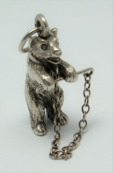 Vintage 1930's/40's Solid Silver Chained Bear Charm Silver Charm - Sandy's Vintage Charms