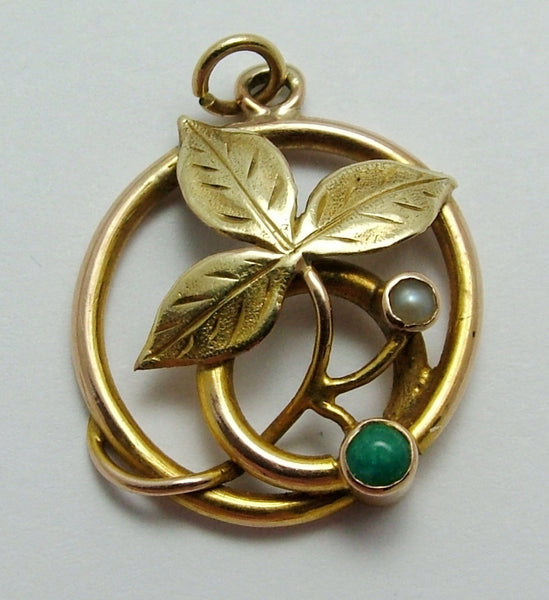 Antique Edwardian 15ct Gold, Turquoise & Pearl Leaf Charm