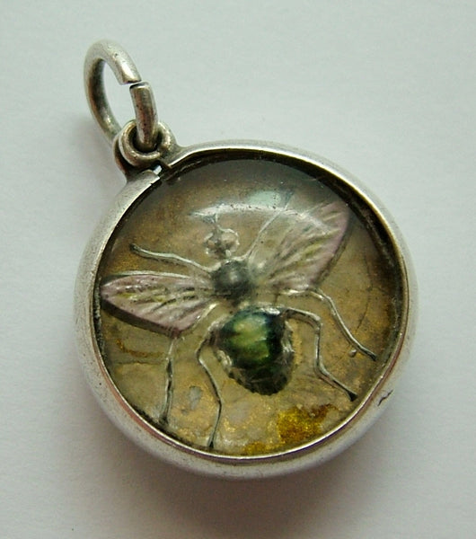 Antique Edwardian Silver Glass Intaglio Charm with Bee or Insect Antique Charm - Sandy's Vintage Charms