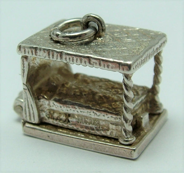 Vintage 1970's Silver Opening Four Poster Bed Charm with Chamber Pot Underneath