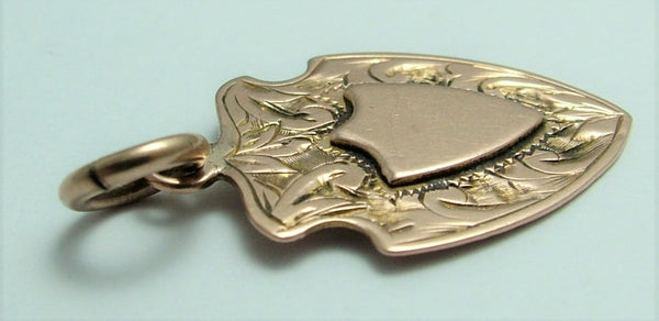 Antique Edwardian Solid 9ct Rose Gold Shield Fob Charm HM 1910 Antique Charm - Sandy's Vintage Charms