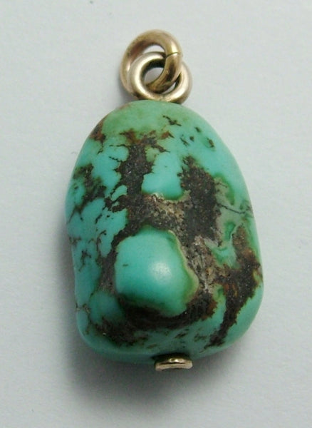 Antique Edwardian c1910 9ct Gold Turquoise Matrix Charm or Pendant Antique Charm - Sandy's Vintage Charms