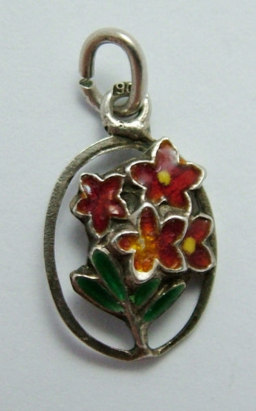 Vintage 1950's Silver & Enamel Red Flowers Charm