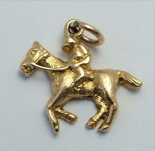 Small Vintage 1930's 9ct Gold Jockey & Racehorse Charm Gold Charm - Sandy's Vintage Charms