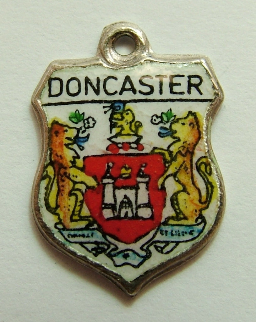1960's Silver & Enamel Shield Charm for DONCASTER in South Yorkshire Shield Charm - Sandy's Vintage Charms