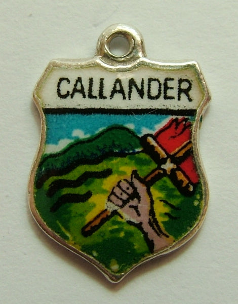 1960's Silver & Enamel Shield Charm for CALLANDER in Scotland Shield Charm - Sandy's Vintage Charms