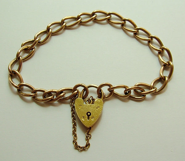 Edwardian English Solid 9ct Rose Gold Bracelet with 1960's Padlock Fastener Bracelet - Sandy's Vintage Charms