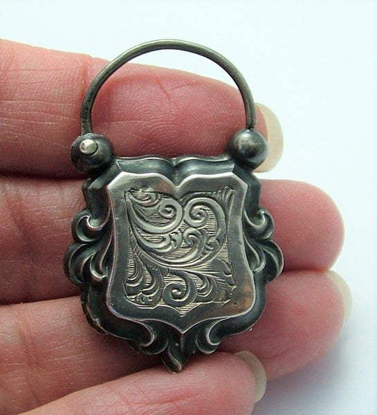 Antique Victorian c1890 Silver Decorative Padlock Fastener or Charm Antique Charm - Sandy's Vintage Charms