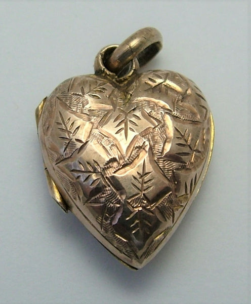 Antique Edwardian 9ct Rose Gold Back & Front Heart Locket with Ivy Leaves Antique Charm - Sandy's Vintage Charms