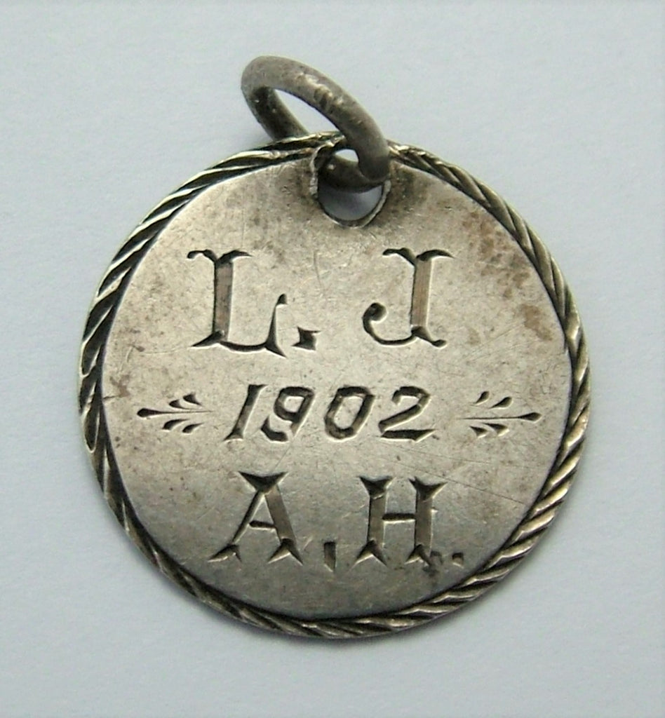 "Antique Victorian Silver Engraved Love Token Coin Charm ""LJ 1902 AH"" Love Token - Sandy's Vintage Charms"