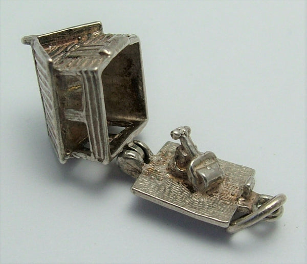 Vintage 1970's Silver Opening Garden Shed Charm Mower & Hose Inside Silver Charm - Sandy's Vintage Charms