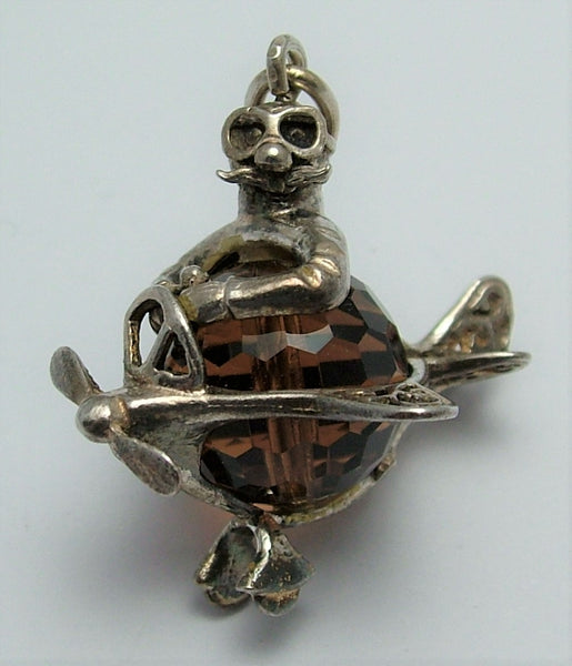 Large Vintage 1970's Silver & Brown Crystal Man in an Aeroplane Charm Silver Charm - Sandy's Vintage Charms