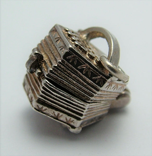 Vintage 1970's Silver Opening CHIM Accordion Charm Sailor Inside Silver Charm - Sandy's Vintage Charms