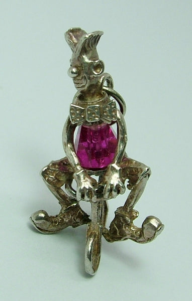 1970's Silver & Pink Crystal Clown Riding a Bicycle Charm HM 1970 Silver Charm - Sandy's Vintage Charms