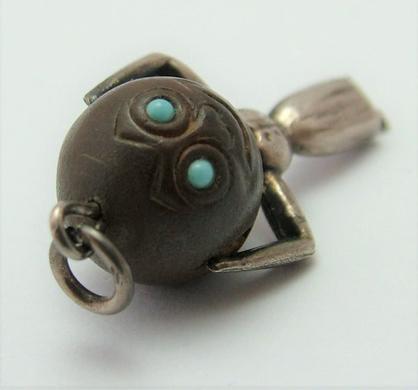 Antique WWI Silver & Wood Lady Touch Wood Charm with Turquoise Eyes