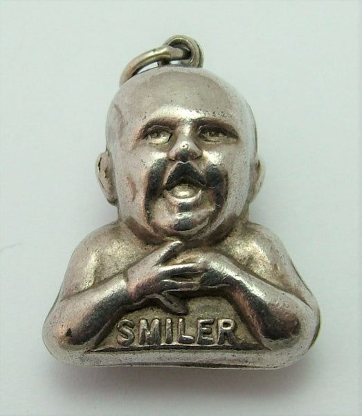Large Vintage 1920's Silver Cow & Gate Advertising SMILER Baby Charm 1920s-1950s Charm - Sandy's Vintage Charms