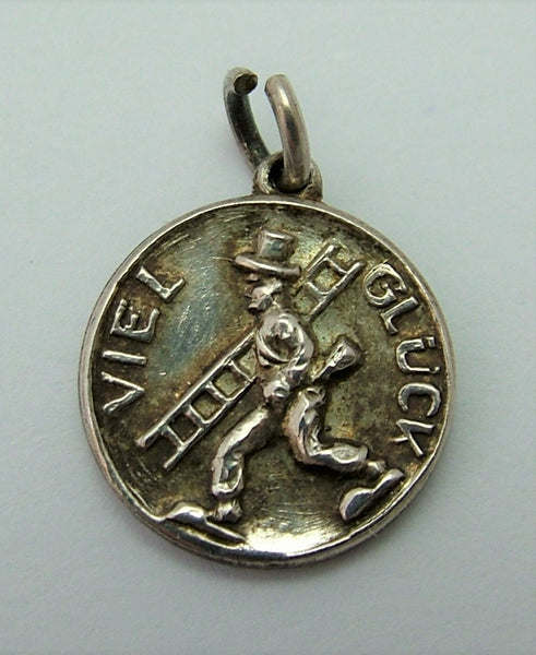"Small Vintage 1950's Silver Good Luck Chimney Sweep Disc Charm ""Viel Glück"""