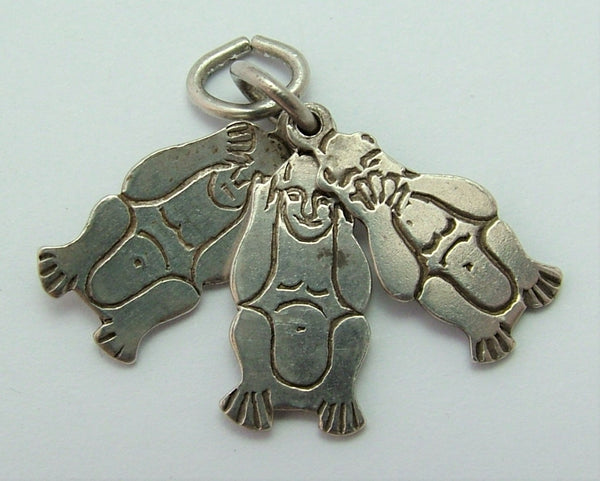 Vintage 1950's Flat Silver Three Wise Monkeys Charm