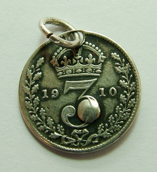 Antique Edwardian Silver Love Token Coin Charm Set with Yellow Gem Love Token - Sandy's Vintage Charms