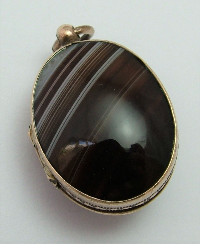 Antique Victorian c1890 Gilt Brass & Banded Agate Locket Charm Antique Charm - Sandy's Vintage Charms