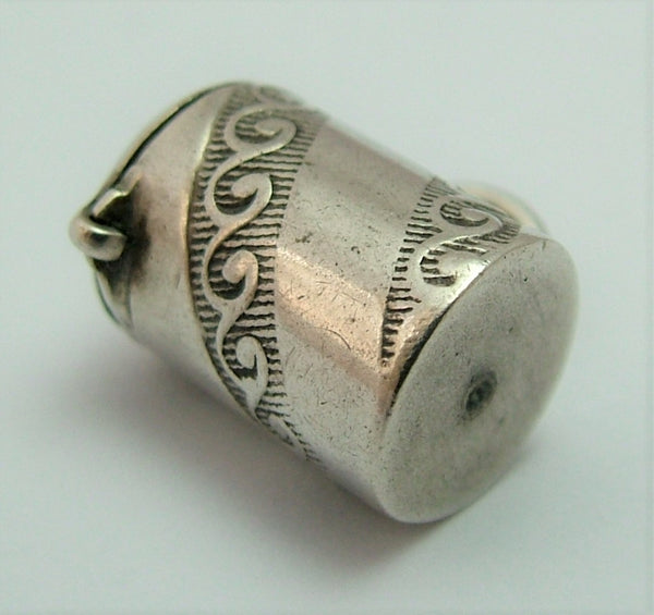 Antique Victorian c1900 Silver Opening Canister Charm Antique Charm - Sandy's Vintage Charms