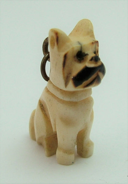 Vintage 1920's/30's Carved Bone Boxer Dog Charm 1920s-1950s Charm - Sandy's Vintage Charms