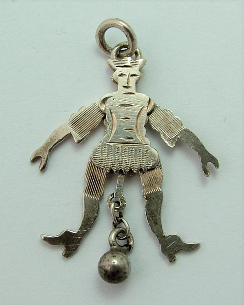 Antique Edwardian c1905 Articulated Silver Jester Charm
