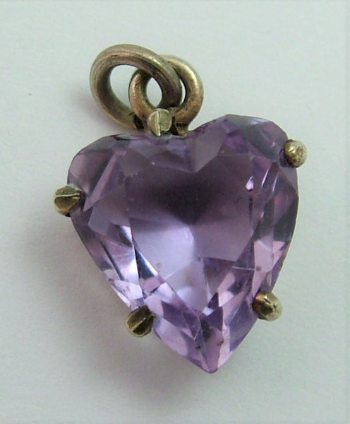 Antique Edwardian Carved Faceted Amethyst & Gilt Metal Heart Charm ON LAYAWAY