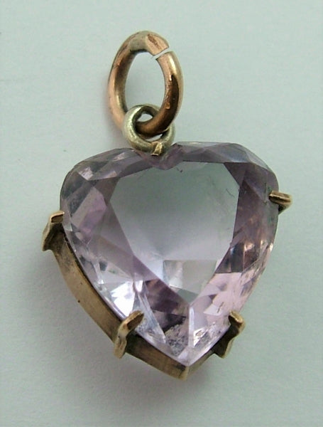Antique Edwardian Carved Faceted Pale Amethyst & Gilt Metal Heart Charm (A)
