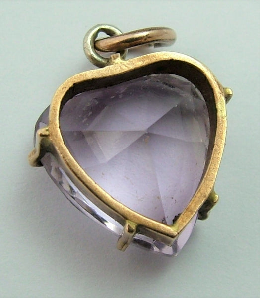 Antique Edwardian Carved Faceted Pale Amethyst & Gilt Metal Heart Charm (A) Antique Charm - Sandy's Vintage Charms