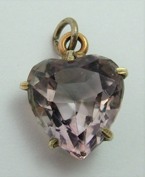 Antique Edwardian Carved Faceted Pale Amethyst & Gilt Metal Heart Charm (B) Antique Charm - Sandy's Vintage Charms