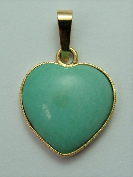 Vintage 1980's 18ct 18k Gold & Larimar Heart Charm Gold Charm - Sandy's Vintage Charms