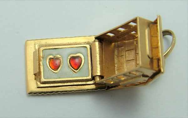 Vintage 1950's 18k 18ct Gold Opening Chalet Charm Enamel Hearts Inside Gold Charm - Sandy's Vintage Charms
