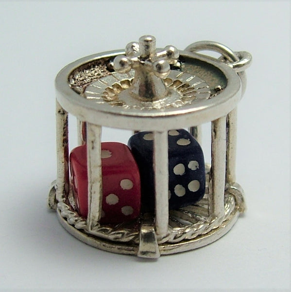 Large Vintage 1970's Silver Roulette Wheel Charm with Moving Dice Inside