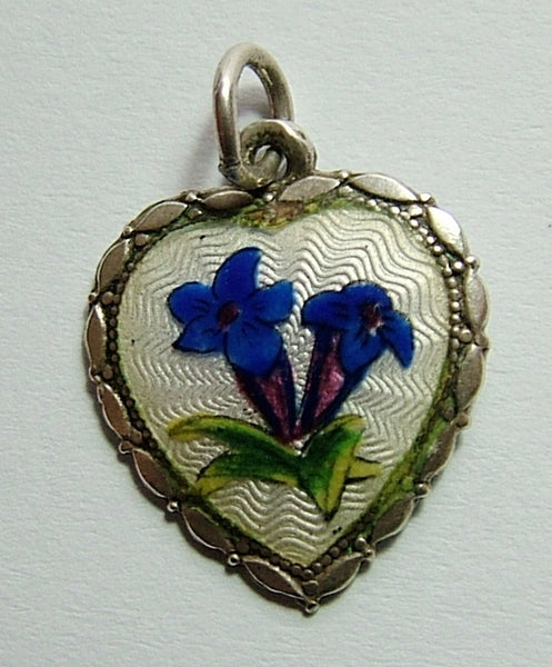 1950's Silver & Guilloche Enamel Heart Charm with Gentian Flowers Enamel Charm - Sandy's Vintage Charms