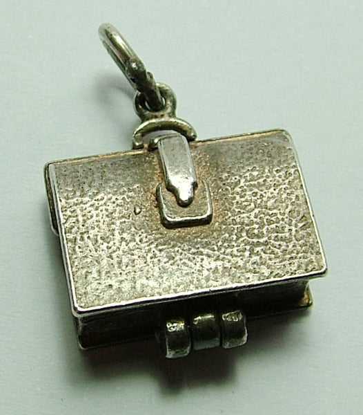 1960's Silver Opening Briefcase Charm Lunch Inside Silver Charm - Sandy's Vintage Charms