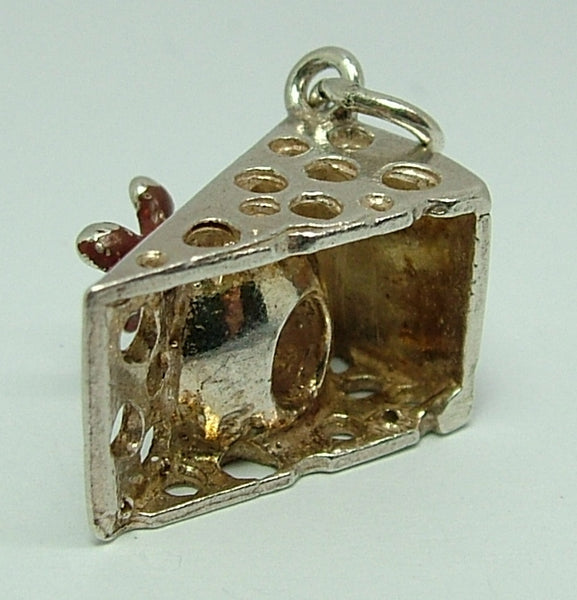 Vintage 1970's Silver Charm - Brown Painted Mouse in a Wedge of Cheese Silver Charm - Sandy's Vintage Charms
