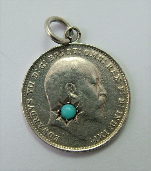 Antique Edwardian Silver Love Token Coin Charm Set with Turquoise Love Token - Sandy's Vintage Charms