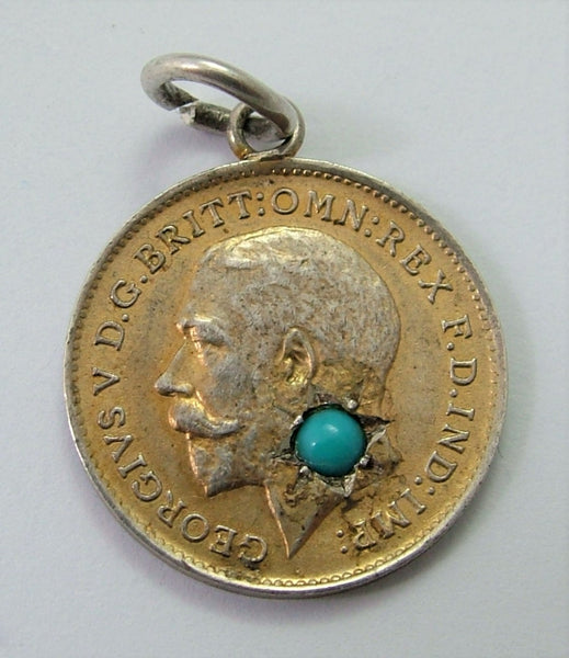 Antique George V Silver Gilt Love Token Coin Charm Set with Turquoise Love Token - Sandy's Vintage Charms