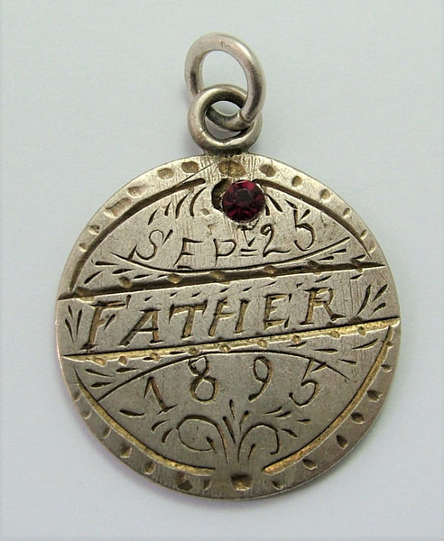 Antique Victorian Silver Engraved Love Token Coin Charm FATHER 1895 Love Token - Sandy's Vintage Charms