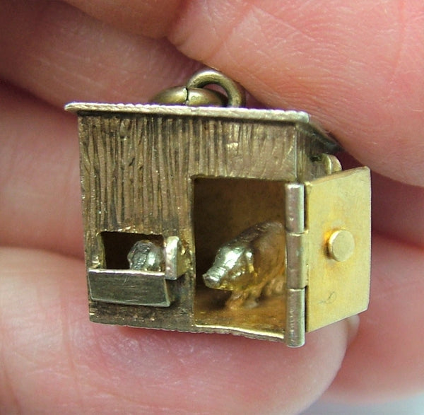 Antique Edwardian c1910 Silver Gilt Opening Pig Sty Charm with Pigs Inside