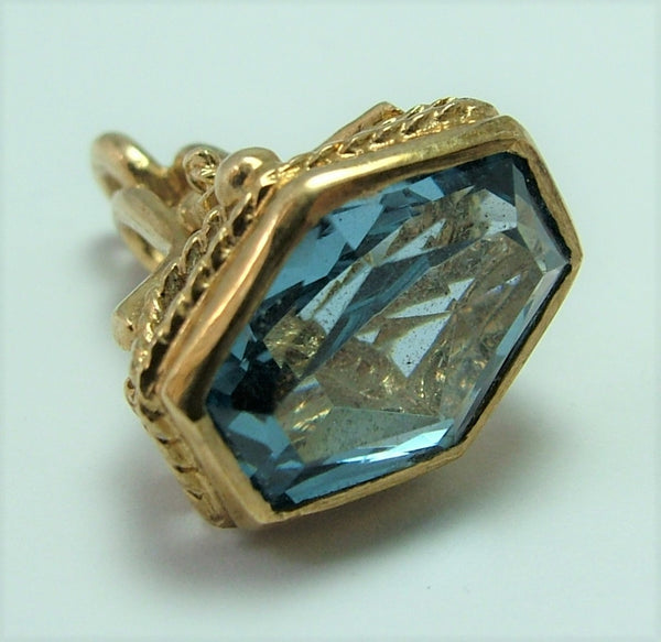 Vintage 1960's 9ct Gold Fob Seal Charm With Faceted Synthetic Blue Spinel Matrix
