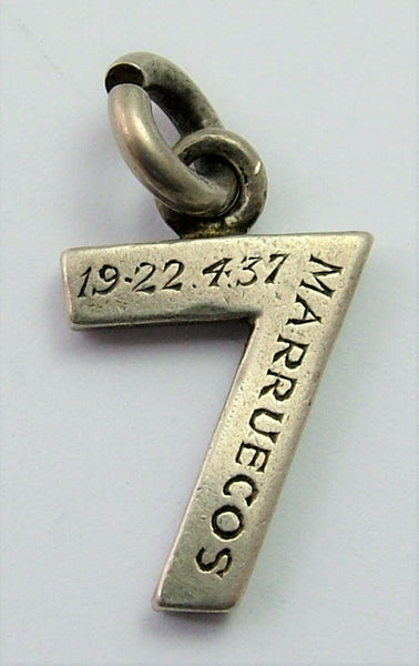 "Vintage 1930's Silver Lucky Number 7 Charm ""GOOD LUCK TO YOU & YOURS"""
