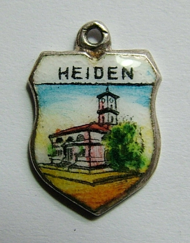 1960's Silver & Enamel Shield Charm for HEIDEN in Switzerland Shield Charm - Sandy's Vintage Charms