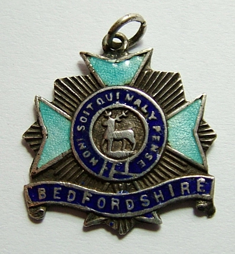 Antique WWI Silver & Enamel Bedfordshire Regiment Charm Antique Charm - Sandy's Vintage Charms