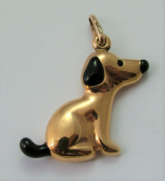 Vintage 1980's Italian 9ct Gold & Black Enamel Hollow Dog Charm Gold Charm - Sandy's Vintage Charms