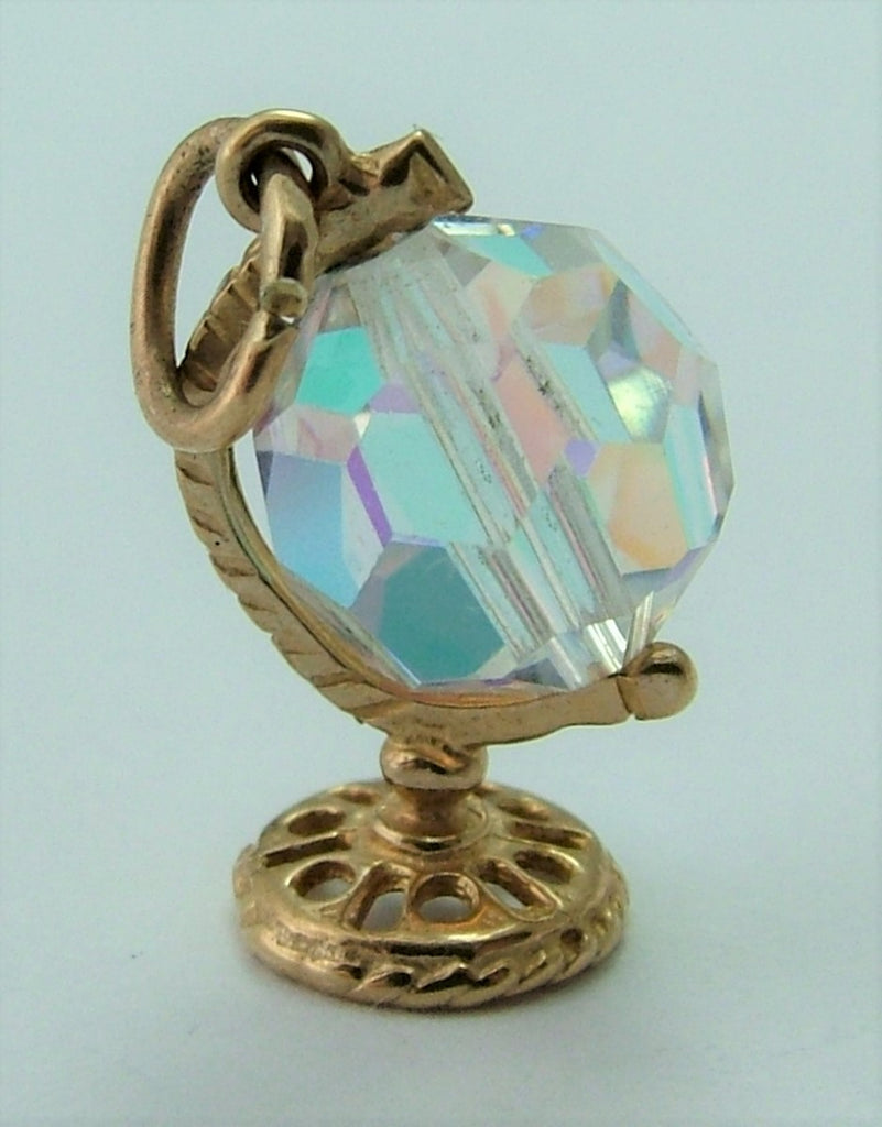 Small Vintage 1980's Crystal & Solid 9ct Gold Moving Globe Charm