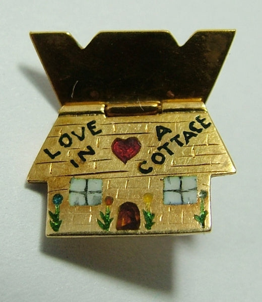 "1930's 18ct 18k Gold & Enamel Opening Cottage Charm ""Love in a Cottage"" Gold Charm - Sandy's Vintage Charms"