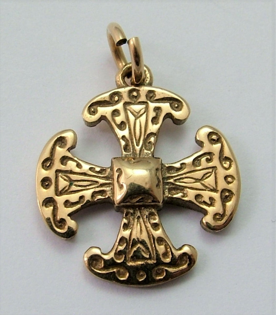 Vintage 1990's 9ct Gold Celtic Cross Charm HM 1991