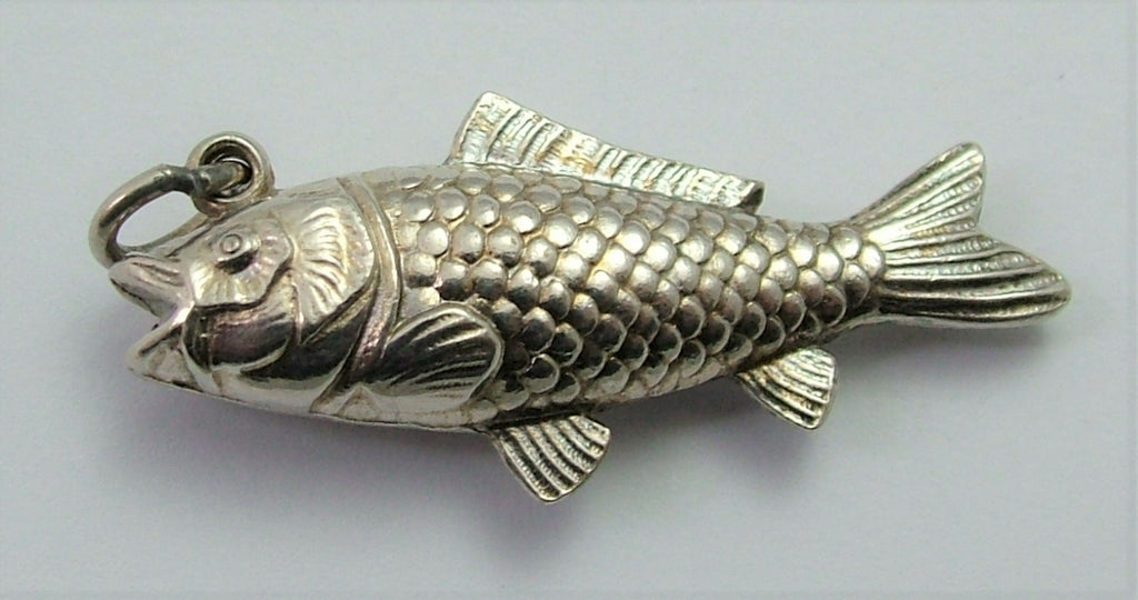 Large Vintage 1920's/30's Hollow Silver Fish Charm